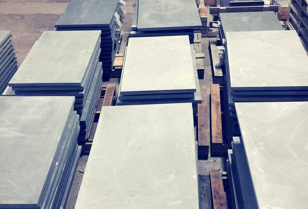 stone slabs ready to be honed