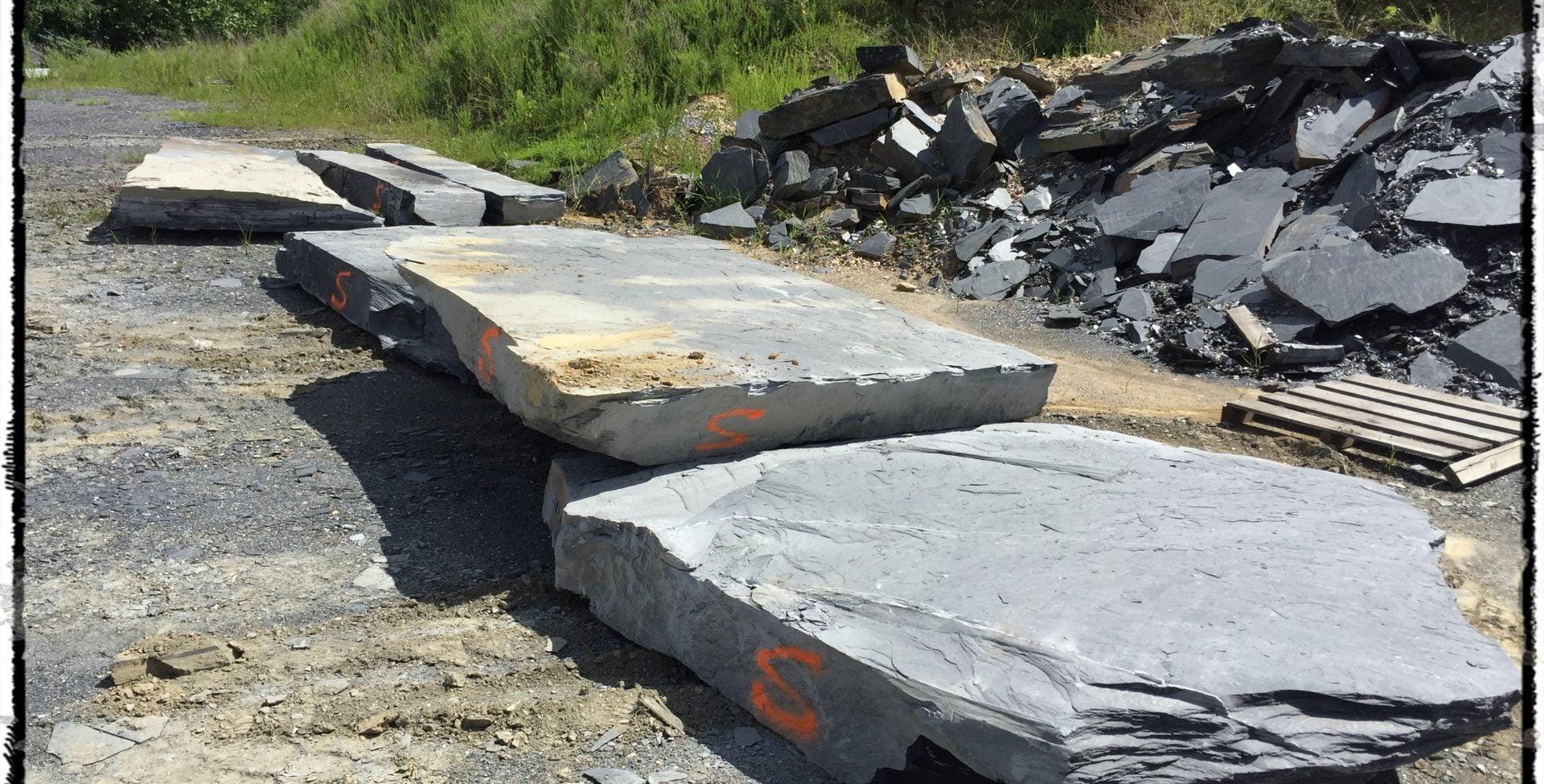 Slate blocks awaiting fabrication.